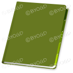 Green folder closed with blank cover for your title