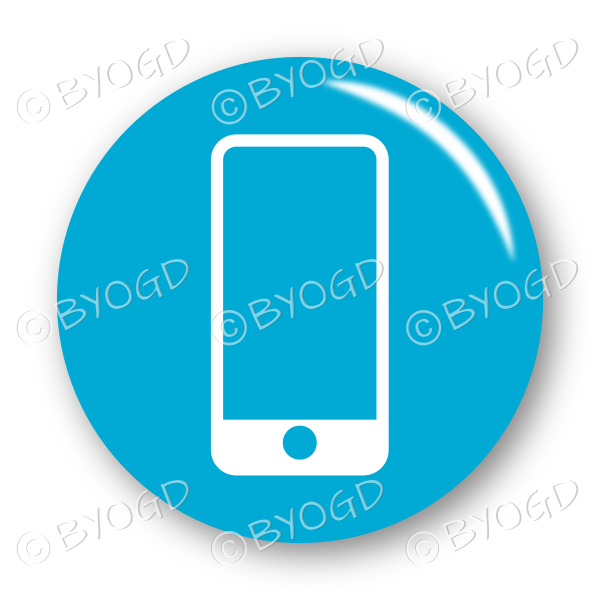 Mobile or Cell phone button – round in blue