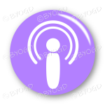 Podcast audio button - round in purple