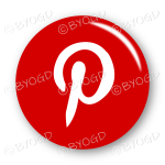 Pinterest logo button - round in red