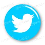 Twitter logo button - round in light blue