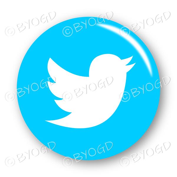 Twitter logo button – round in light blue