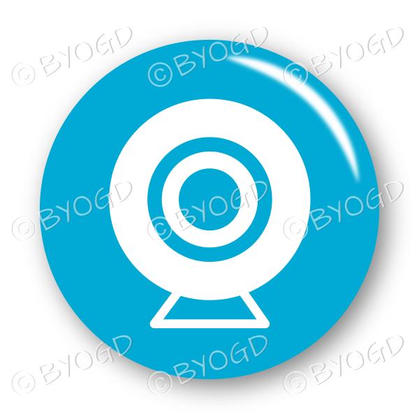Webcam button – round in blue