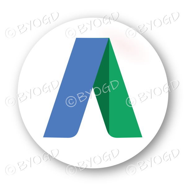 Logo button – round in blue, green and white