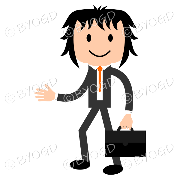 Young businessman walking with briefcase