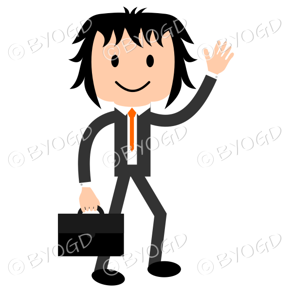 Young businessman waving (going left)