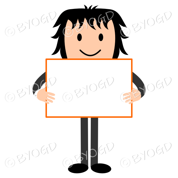 Man with blank sign - add your own message!