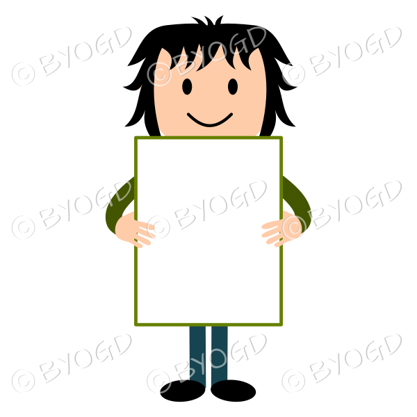 Man holding a blank sign (vertical)