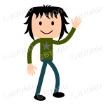 Young man waving in green t shirt and blue jeans