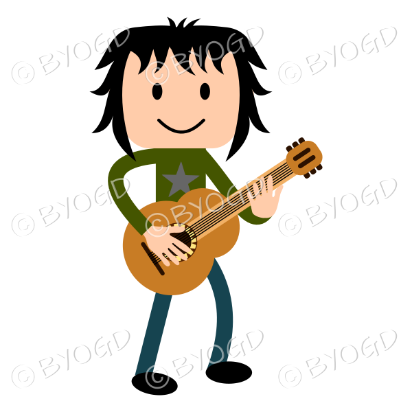 Young man playing guitar in green t shirt and blue jeans