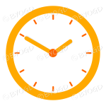 Orange office wall clock Showing 10 minutes to two
