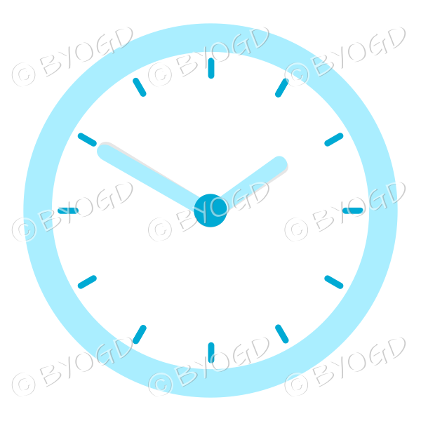 light blue office wall clock showing 10 minutes to two