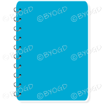 Light blue spiral bound note book with space for title