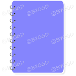 Purple spiral bound note book with space for title