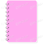 Pink spiral bound note book with space for title