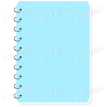 Pale Light blue spiral bound note book with space for title