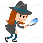 Girl detective with light blue hat band