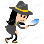 Girl detective with yellow hat band
