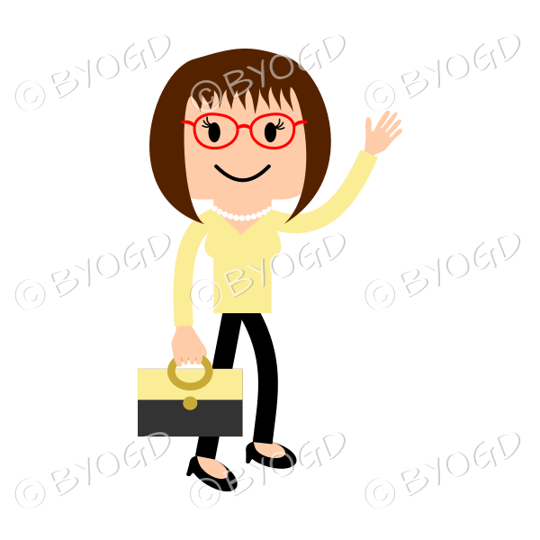 Woman in red glasses waving with bag