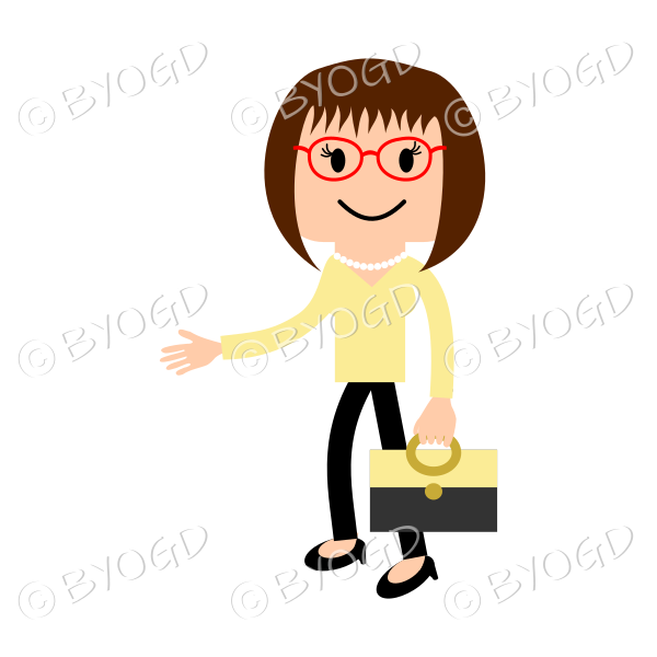 Woman in red glasses shaking hands with briefcase