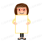 Girl wearing red glasses with blank sign - add your own message!
