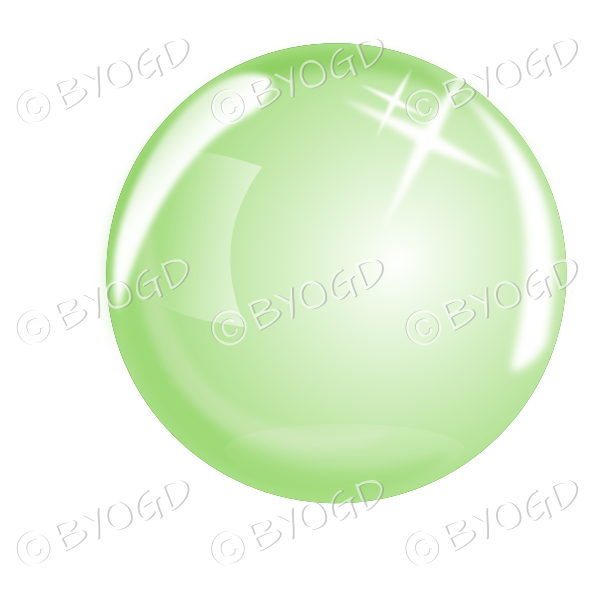 Green bubble, sphere or crystal ball