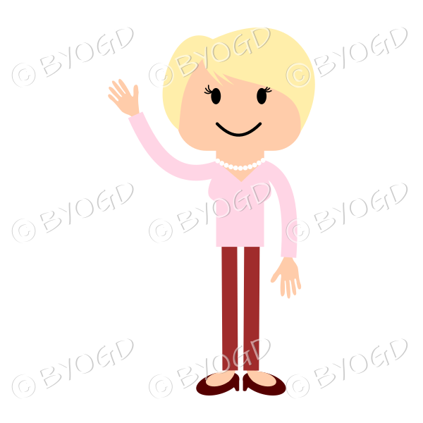 Blonde woman in red and pink waving