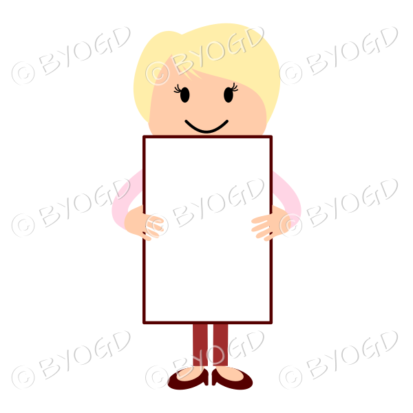 Blonde woman in red and pink with a blank sign for your own message