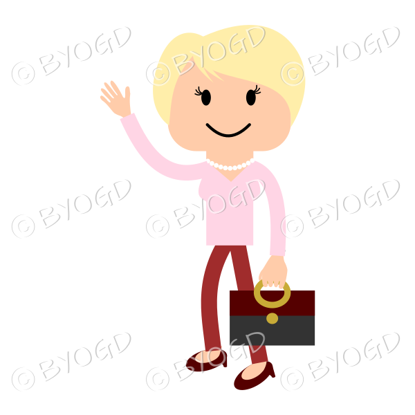 Blonde woman in red and pink waving and carrying a bag