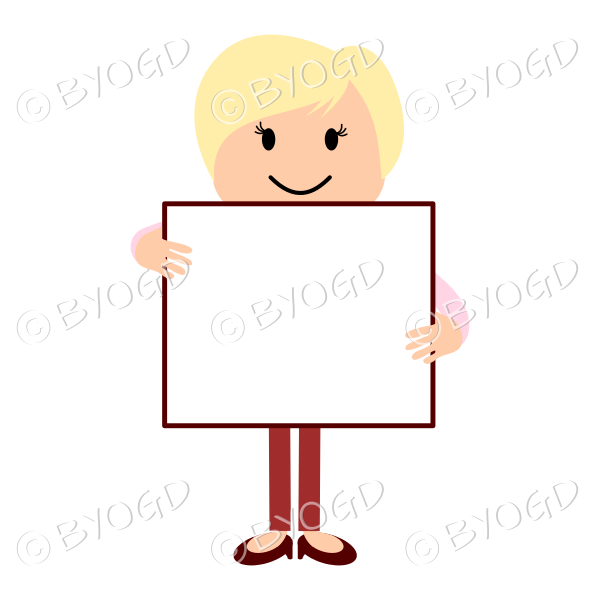 Blonde woman in red and pink carrying a blank sign