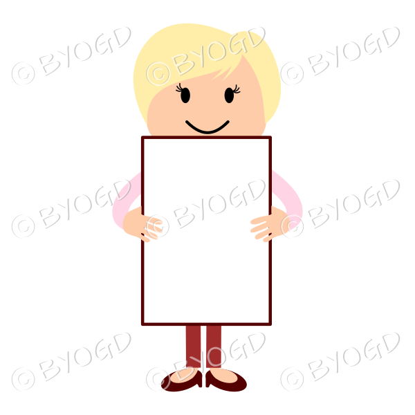 woman with blank sign - add your own message!