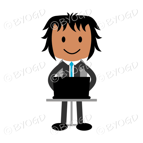 business man with dark skin wearing a blue tie sitting at laptop computer