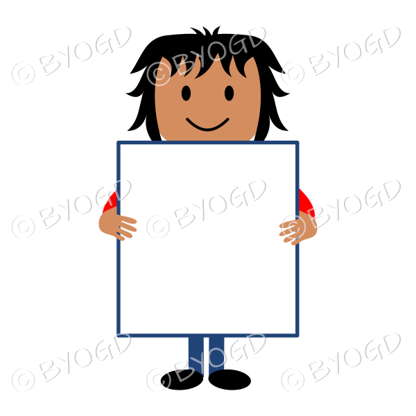(Red T-Shirt) Young man with blank poster