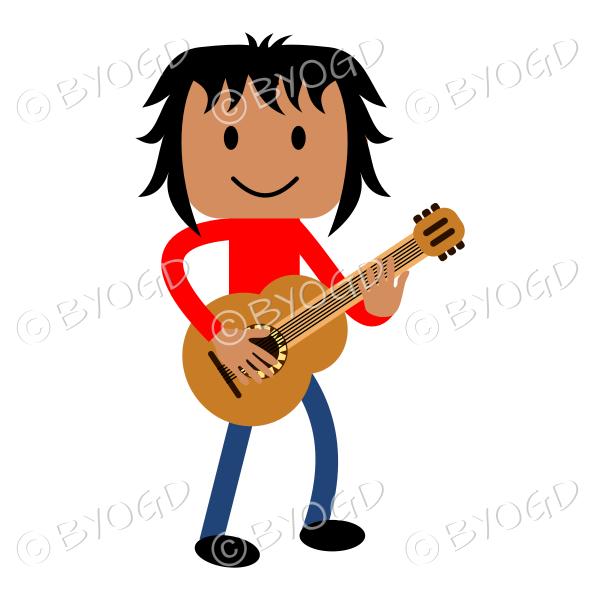 (Red T-Shirt) Young man playing guitar