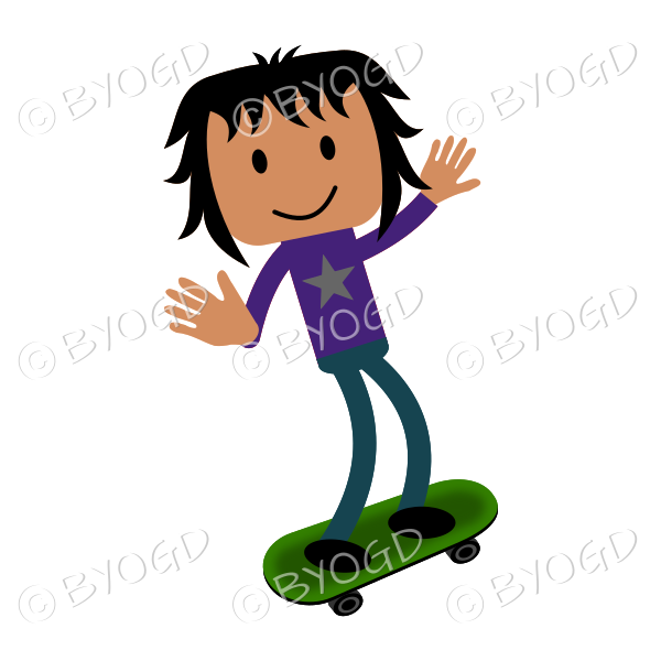 Young man in purple top and blue jeans on skateboard