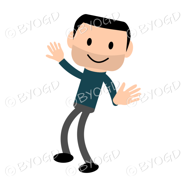 (Dark Blue T-Shirt) Young man posing
