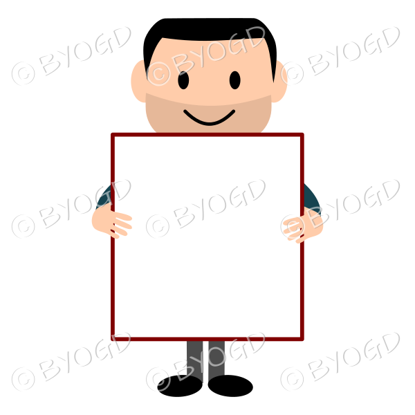 (Dark Blue T-Shirt) Young man with blank poster