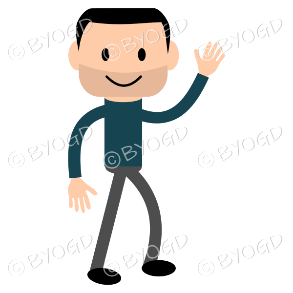 (Dark Blue T-Shirt) Young man standing and waving