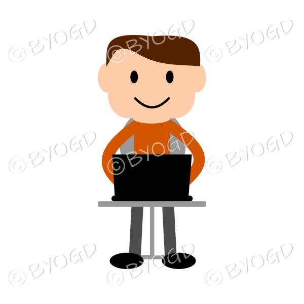 (Orange T-shirt)Young man sitting at a laptop computer