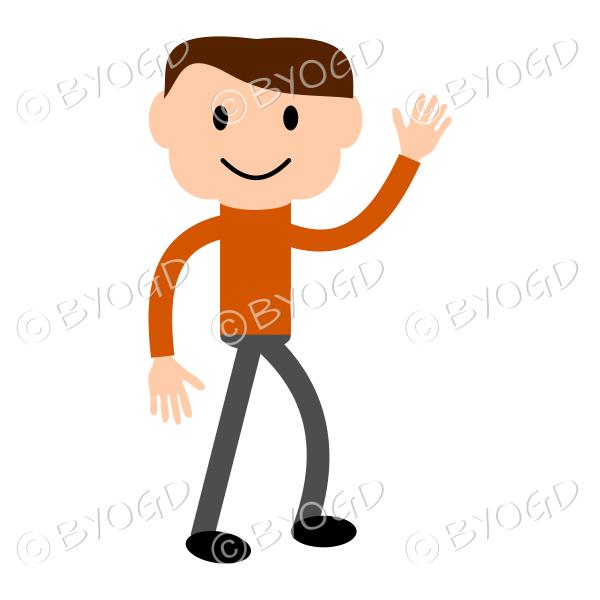 (Orange T-shirt) Young man waving