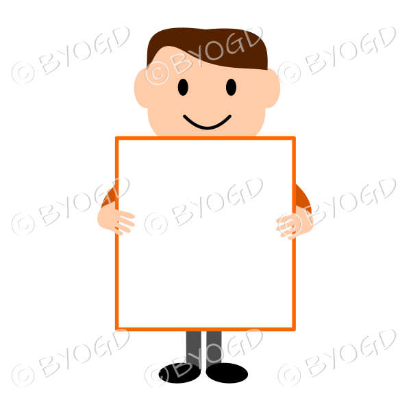 (Orange T-shirt) Young man holding a blank sign