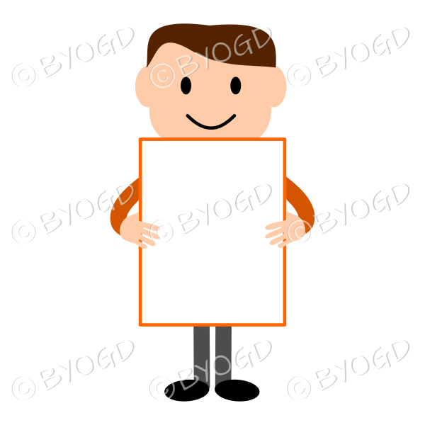 (Orange T-shirt) Young man holding a large blank sign