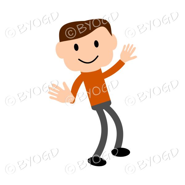 (Orange T-shirt) Young man striking a pose