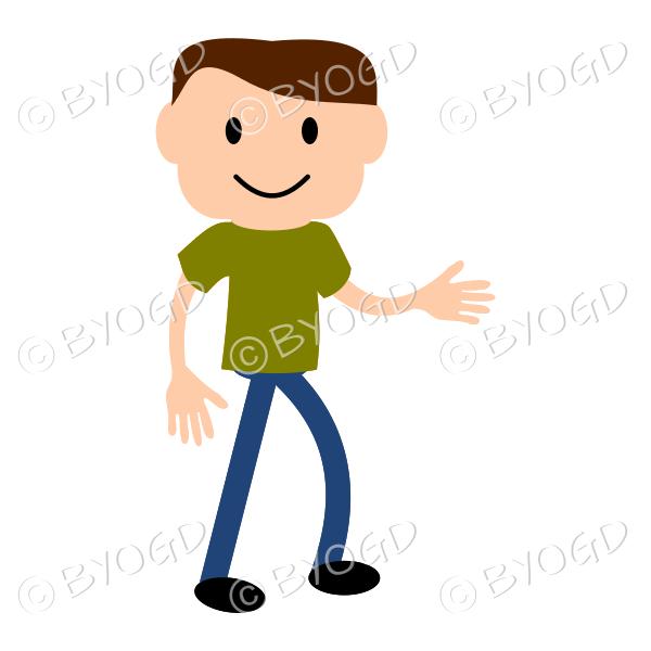 (Green T-Shirt) Young man shaking hands