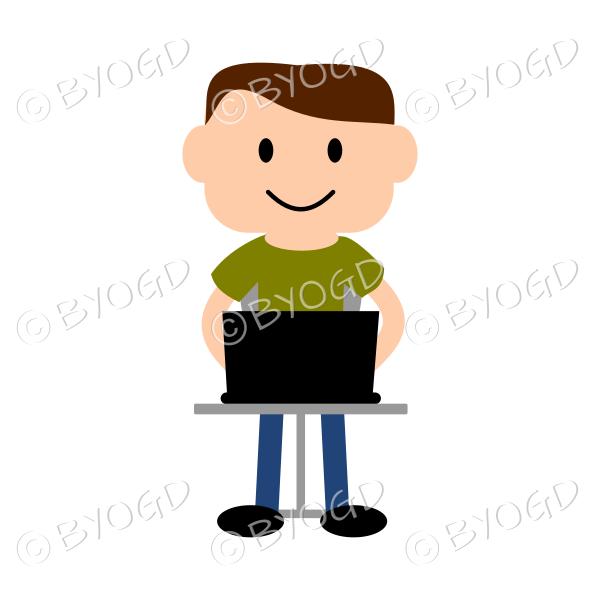 (Green T-Shirt) Young man sitting at laptop