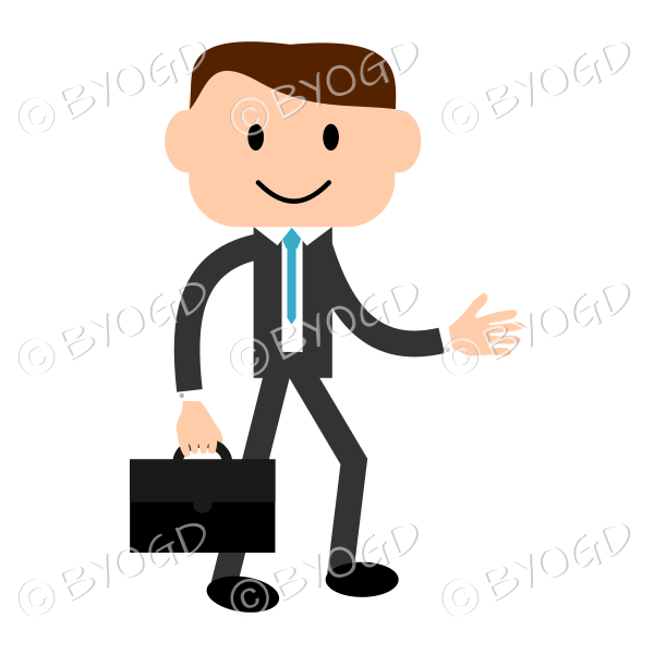 Man with light skin wearing a blue tie carrying a briefcase