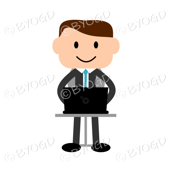 Business man in suit sitting at laptop computer