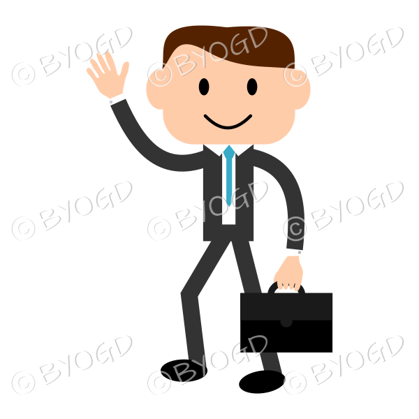 Man with light skin wearing a blue tie carrying a briefcase and greeting someone