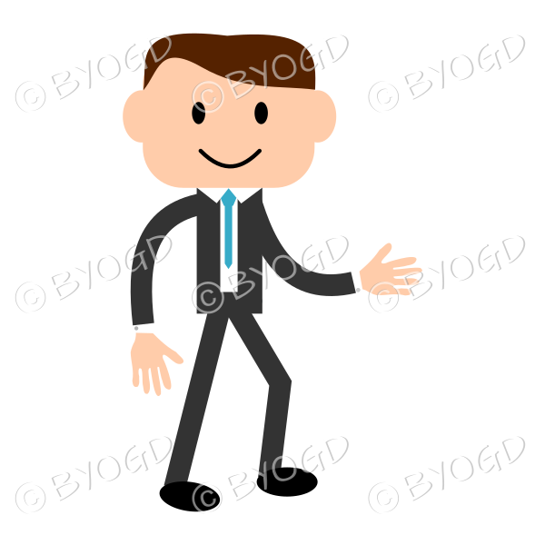 Man with light skin wearing a blue tie about to shake hands