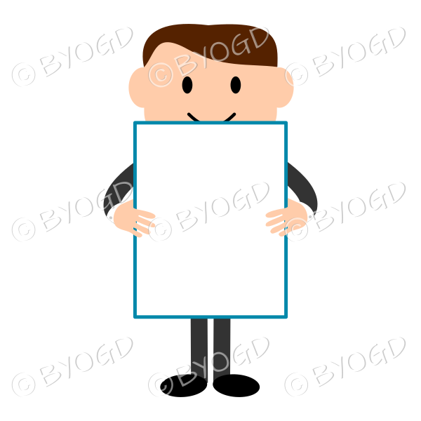 Man with light skin holding a blank sign